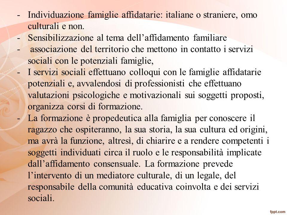 Individuazione famiglie affidatarie: italiane o straniere, omo culturali e non.