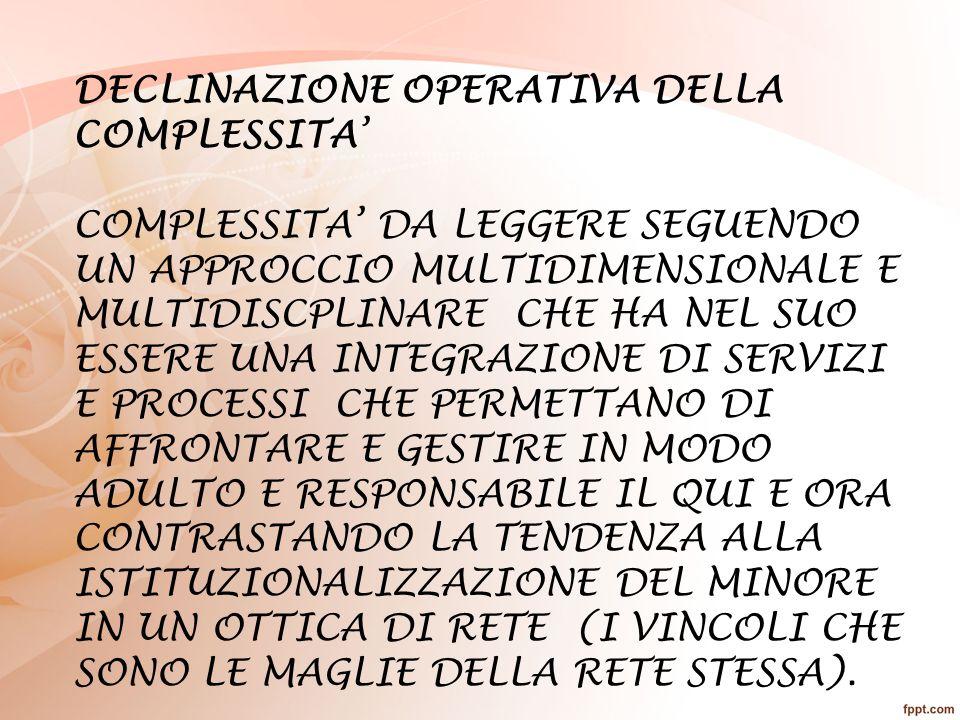 DECLINAZIONE OPERATIVA DELLA COMPLESSITA'