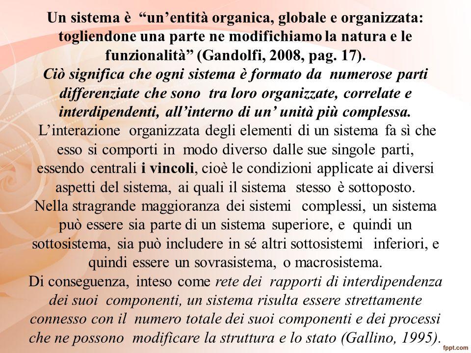 Un sistema è un'entità organica, globale e organizzata: togliendone una parte ne modifichiamo la natura e le funzionalità (Gandolfi, 2008, pag. 17).