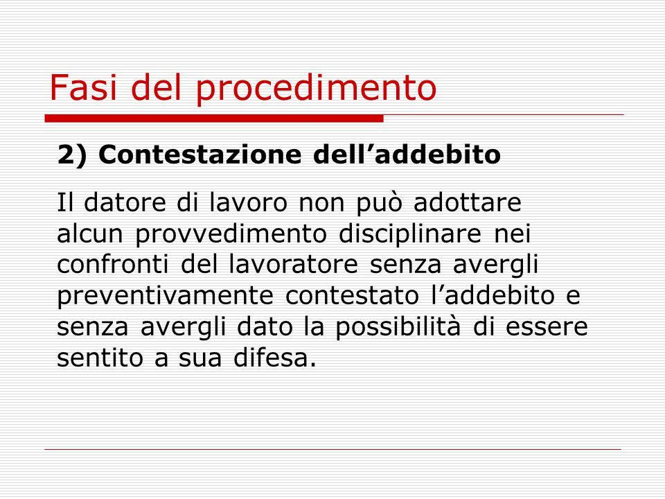 Fasi del procedimento 2) Contestazione dell'addebito