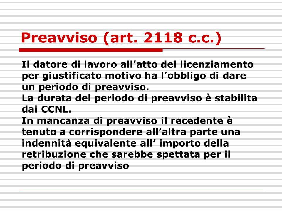 Preavviso (art. 2118 c.c.)