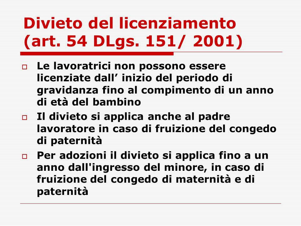Divieto del licenziamento (art. 54 DLgs. 151/ 2001)