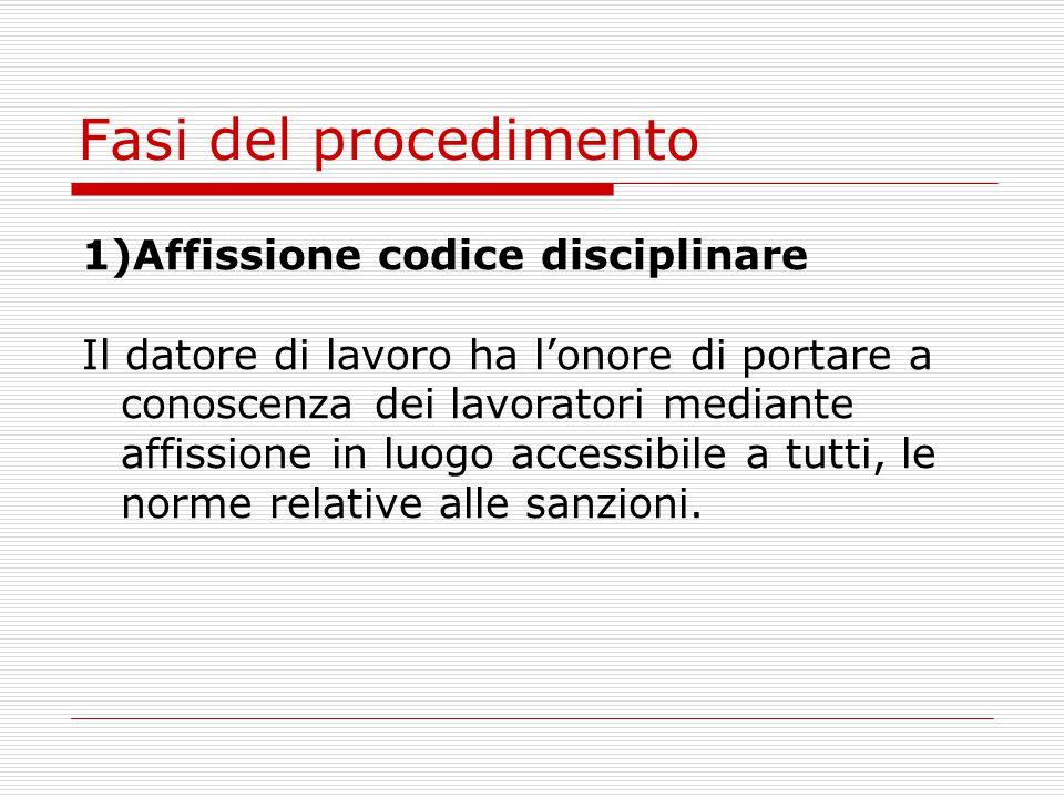 Fasi del procedimento 1)Affissione codice disciplinare
