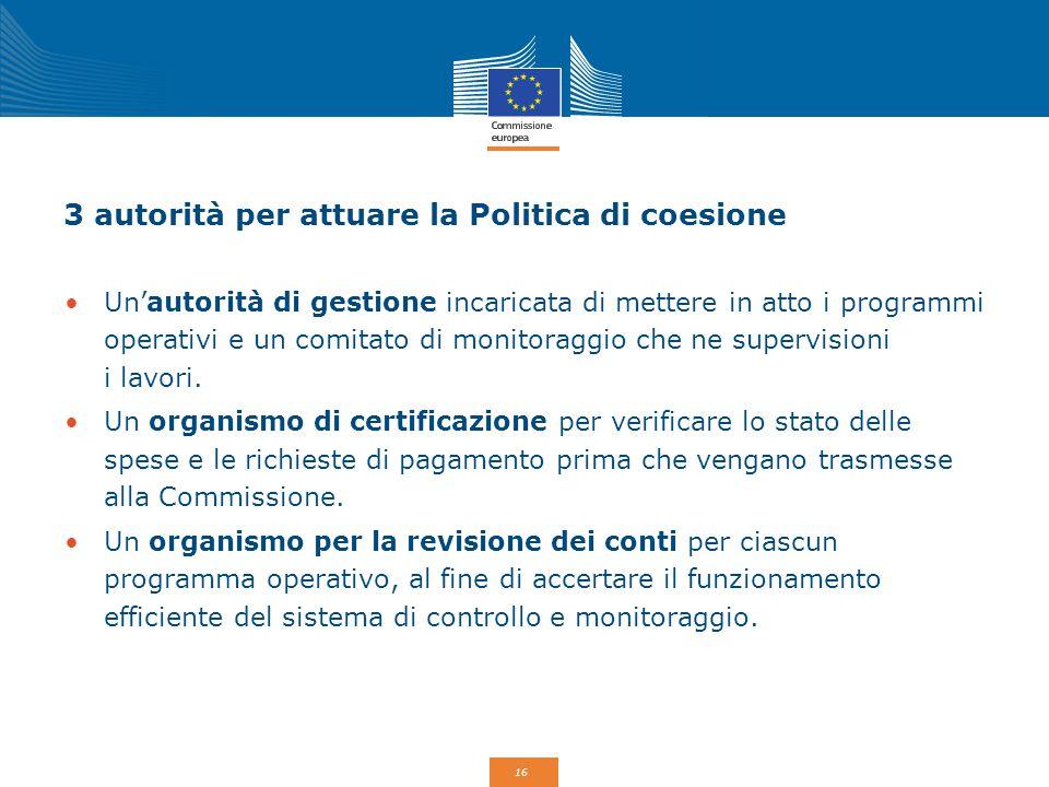 3 autorità per attuare la Politica di coesione