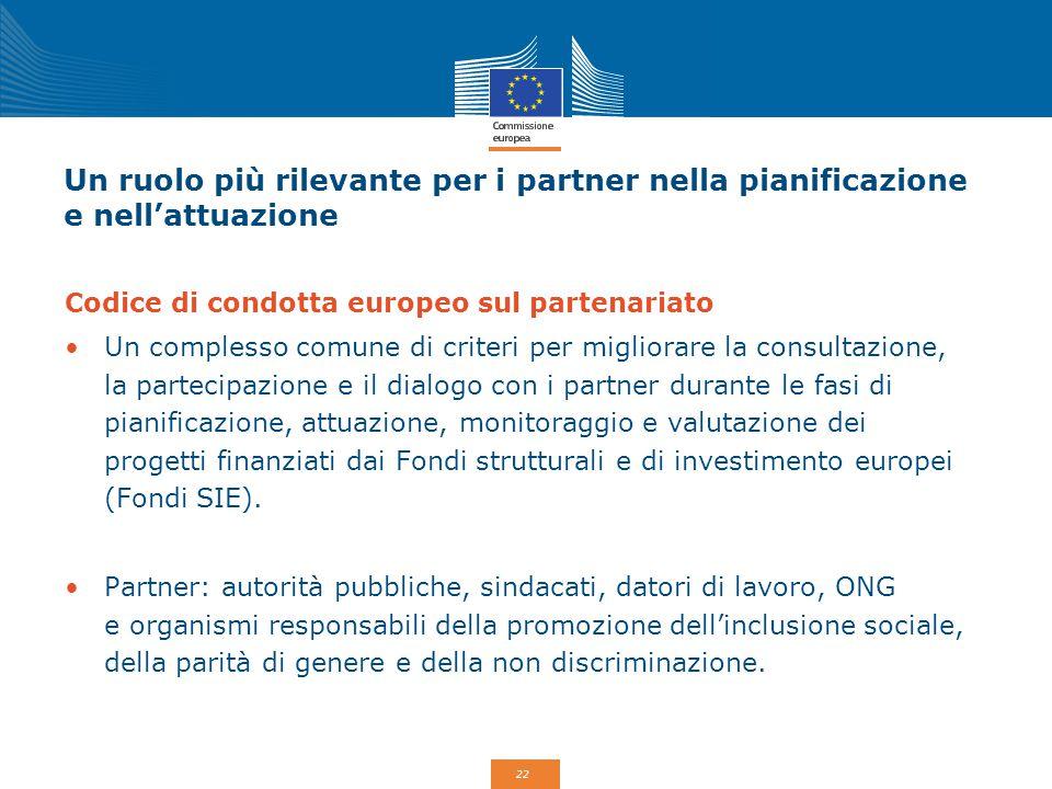 Un ruolo più rilevante per i partner nella pianificazione e nell'attuazione