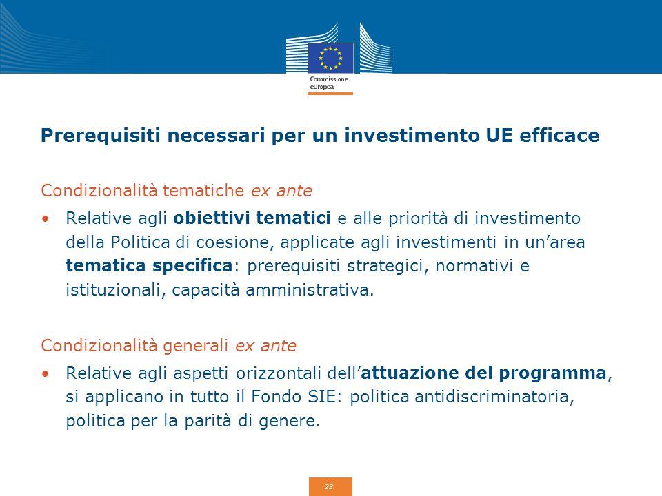 Prerequisiti necessari per un investimento UE efficace