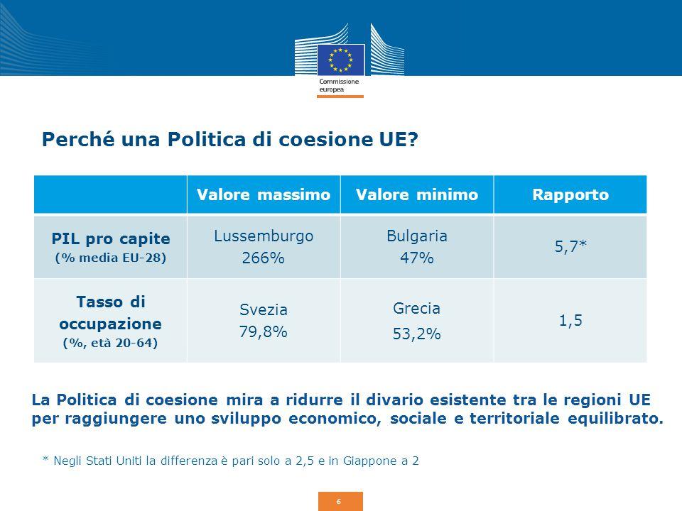 Perché una Politica di coesione UE