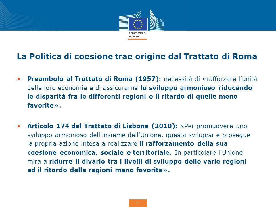 La Politica di coesione trae origine dal Trattato di Roma