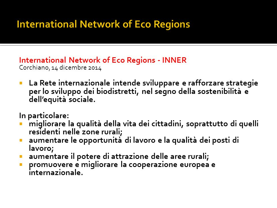 International Network of Eco Regions