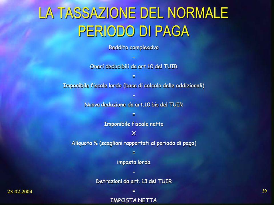 LA TASSAZIONE DEL NORMALE PERIODO DI PAGA