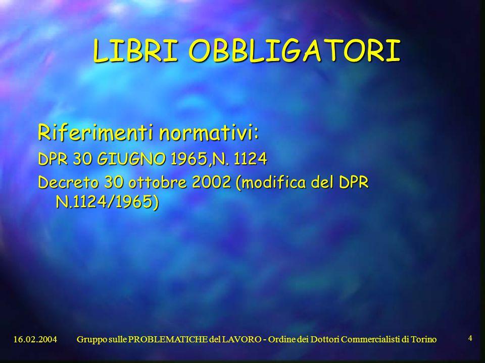 LIBRI OBBLIGATORI Riferimenti normativi: DPR 30 GIUGNO 1965,N. 1124