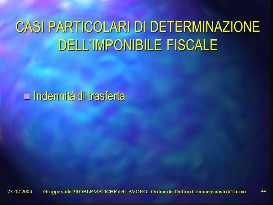 CASI PARTICOLARI DI DETERMINAZIONE DELL'IMPONIBILE FISCALE