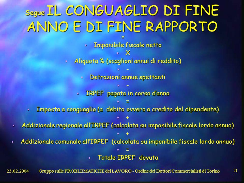 Segue IL CONGUAGLIO DI FINE ANNO E DI FINE RAPPORTO