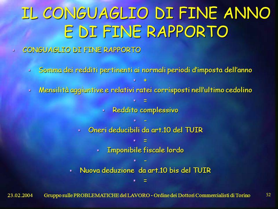 IL CONGUAGLIO DI FINE ANNO E DI FINE RAPPORTO