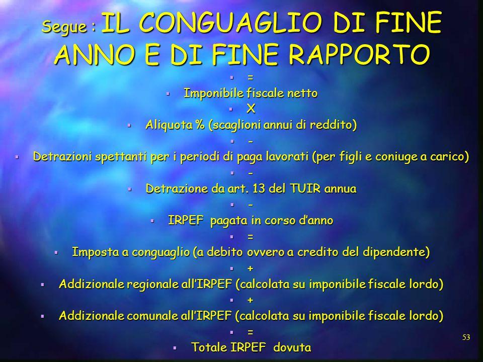 Segue : IL CONGUAGLIO DI FINE ANNO E DI FINE RAPPORTO