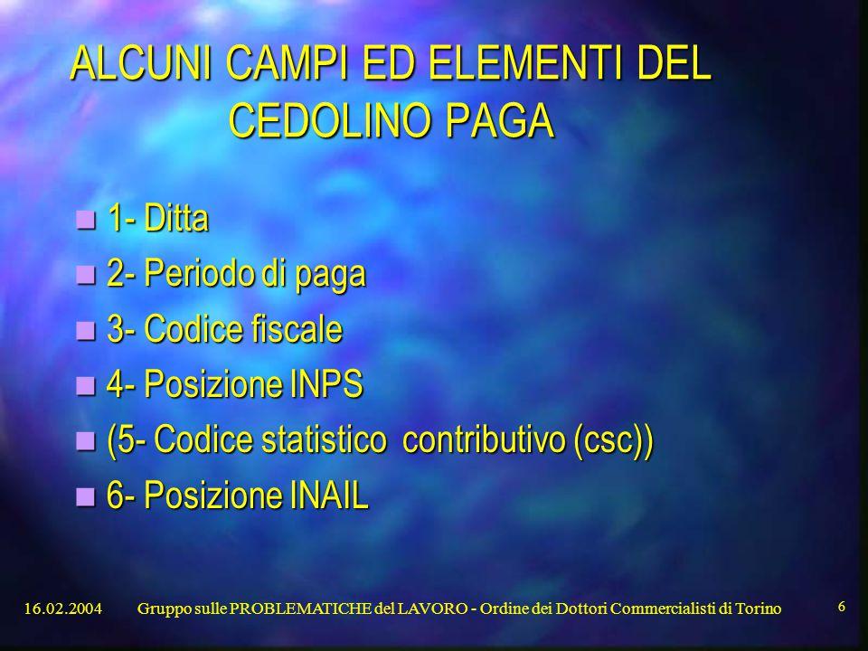 ALCUNI CAMPI ED ELEMENTI DEL CEDOLINO PAGA
