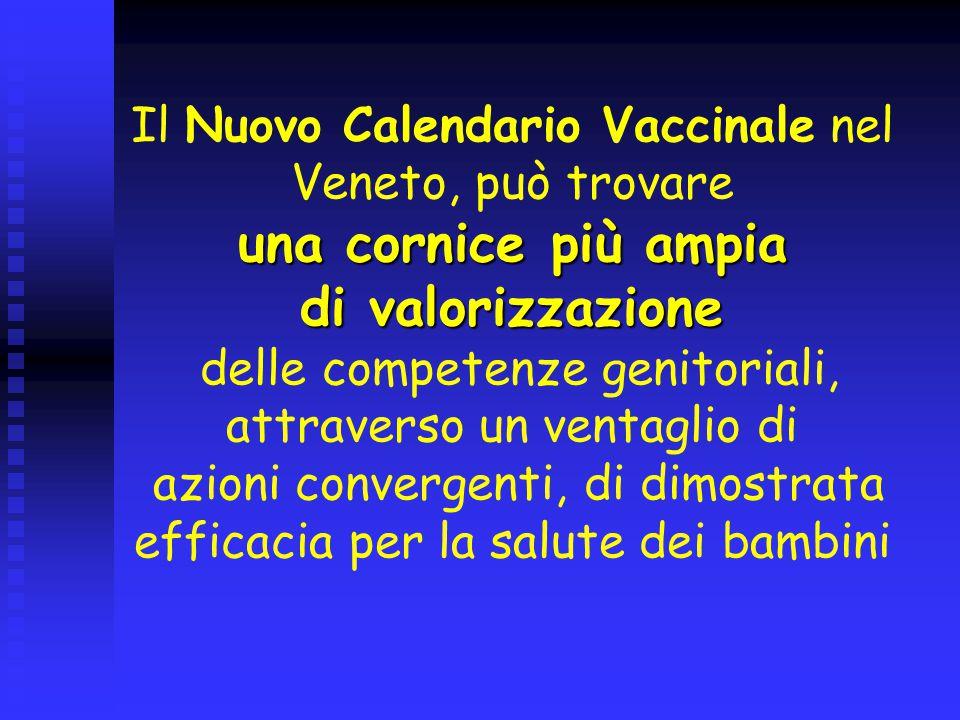 Il Nuovo Calendario Vaccinale nel Veneto, può trovare una cornice più ampia di valorizzazione delle competenze genitoriali, attraverso un ventaglio di azioni convergenti, di dimostrata efficacia per la salute dei bambini