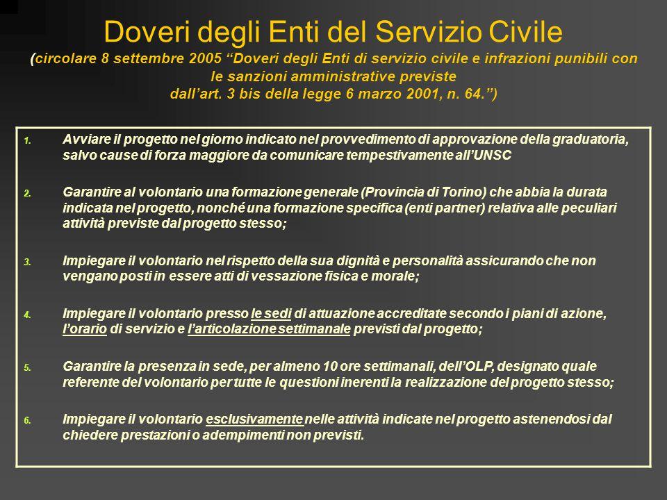 Doveri degli Enti del Servizio Civile (circolare 8 settembre 2005 Doveri degli Enti di servizio civile e infrazioni punibili con le sanzioni amministrative previste dall'art. 3 bis della legge 6 marzo 2001, n. 64. )