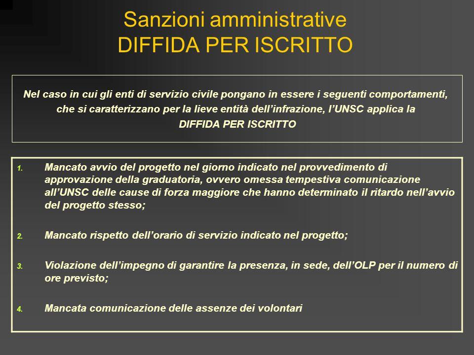 Sanzioni amministrative DIFFIDA PER ISCRITTO
