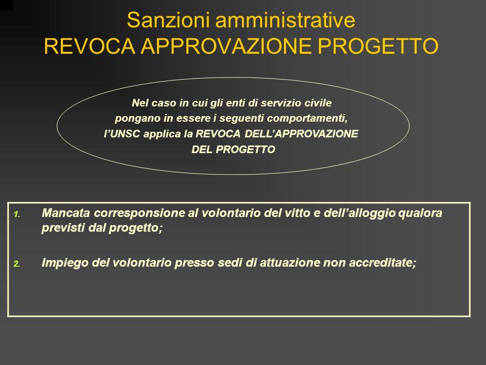 Sanzioni amministrative REVOCA APPROVAZIONE PROGETTO