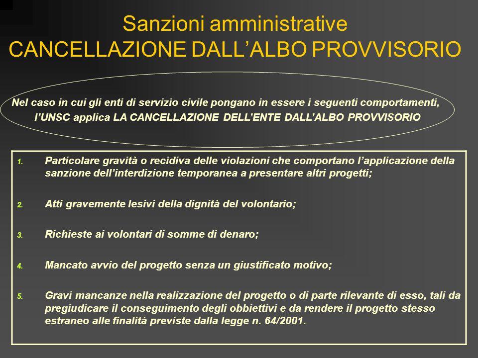 Sanzioni amministrative CANCELLAZIONE DALL'ALBO PROVVISORIO