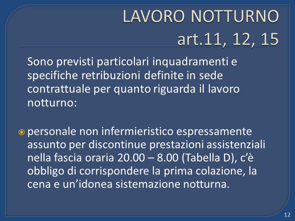 LAVORO NOTTURNO art.11, 12, 15