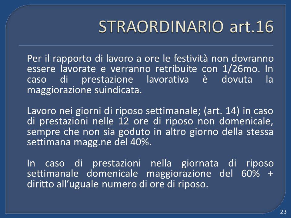 STRAORDINARIO art.16