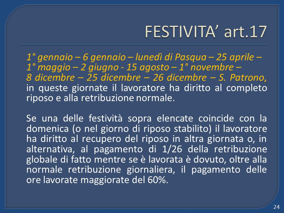 FESTIVITA' art.17