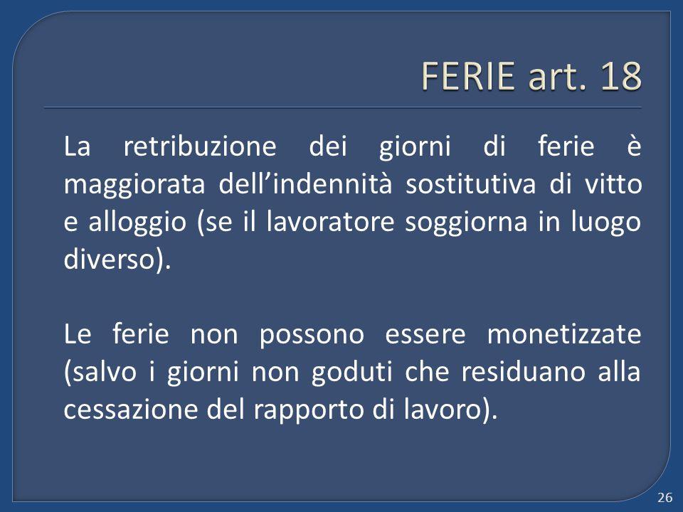 FERIE art. 18