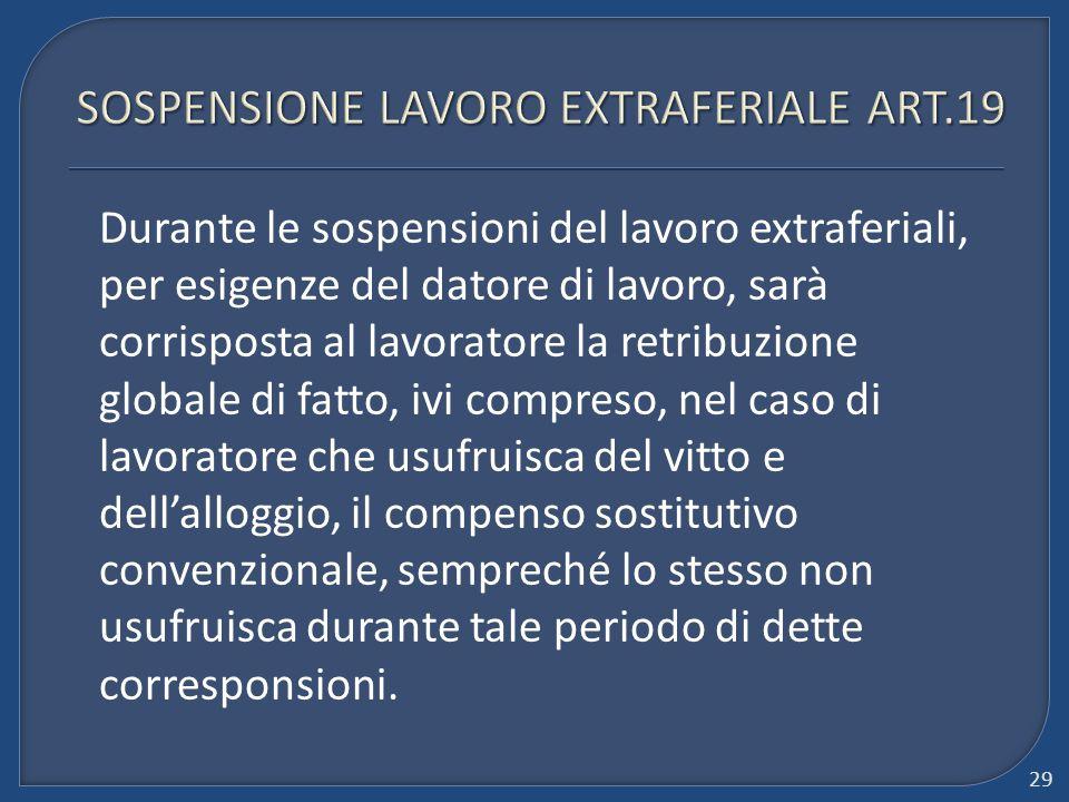 SOSPENSIONE LAVORO EXTRAFERIALE ART.19