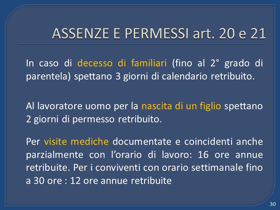 ASSENZE E PERMESSI art. 20 e 21