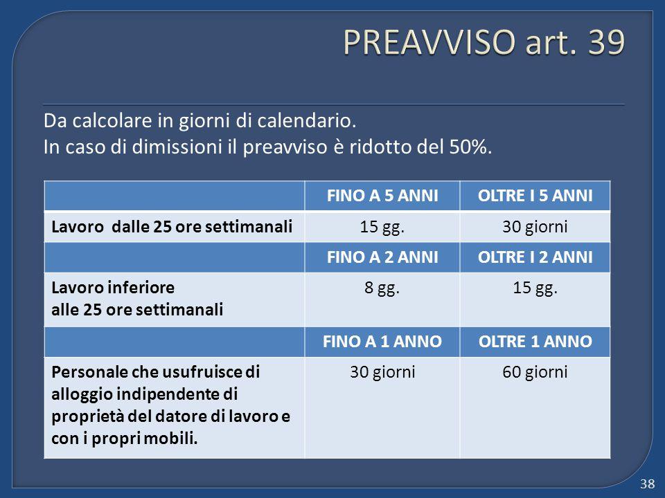 PREAVVISO art. 39 Da calcolare in giorni di calendario. In caso di dimissioni il preavviso è ridotto del 50%.