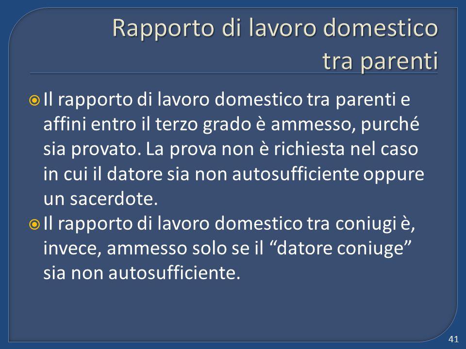 Rapporto di lavoro domestico tra parenti