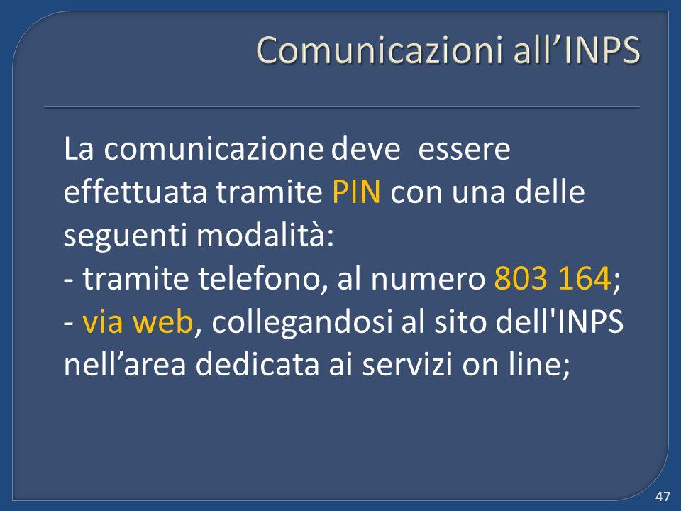Comunicazioni all'INPS