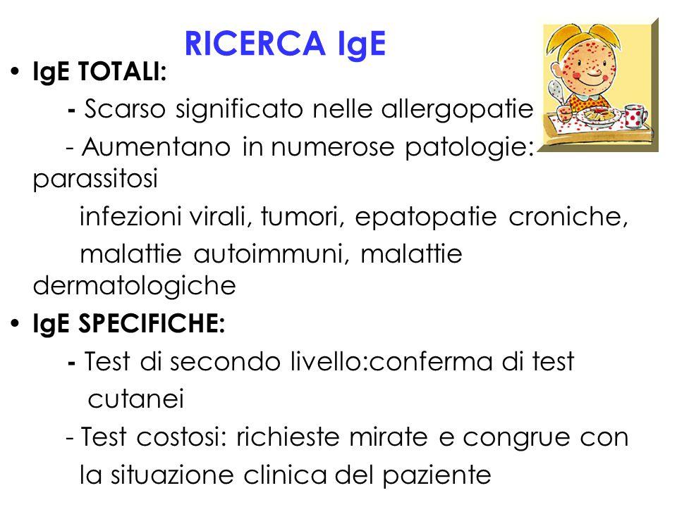 RICERCA IgE IgE TOTALI: - Scarso significato nelle allergopatie