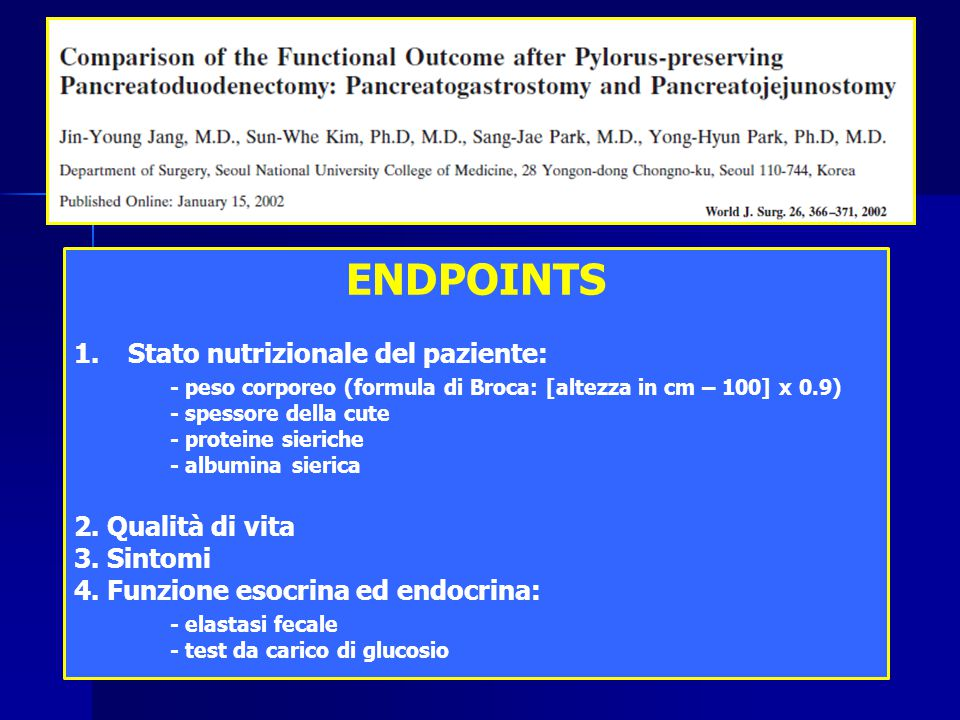 ENDPOINTS Stato nutrizionale del paziente: