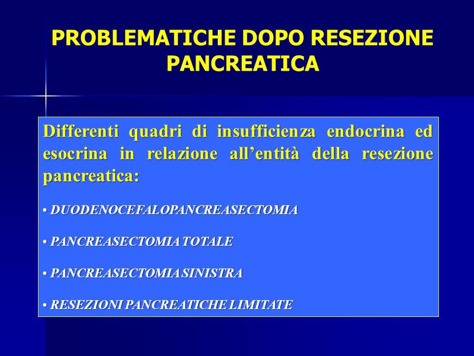 PROBLEMATICHE DOPO RESEZIONE PANCREATICA