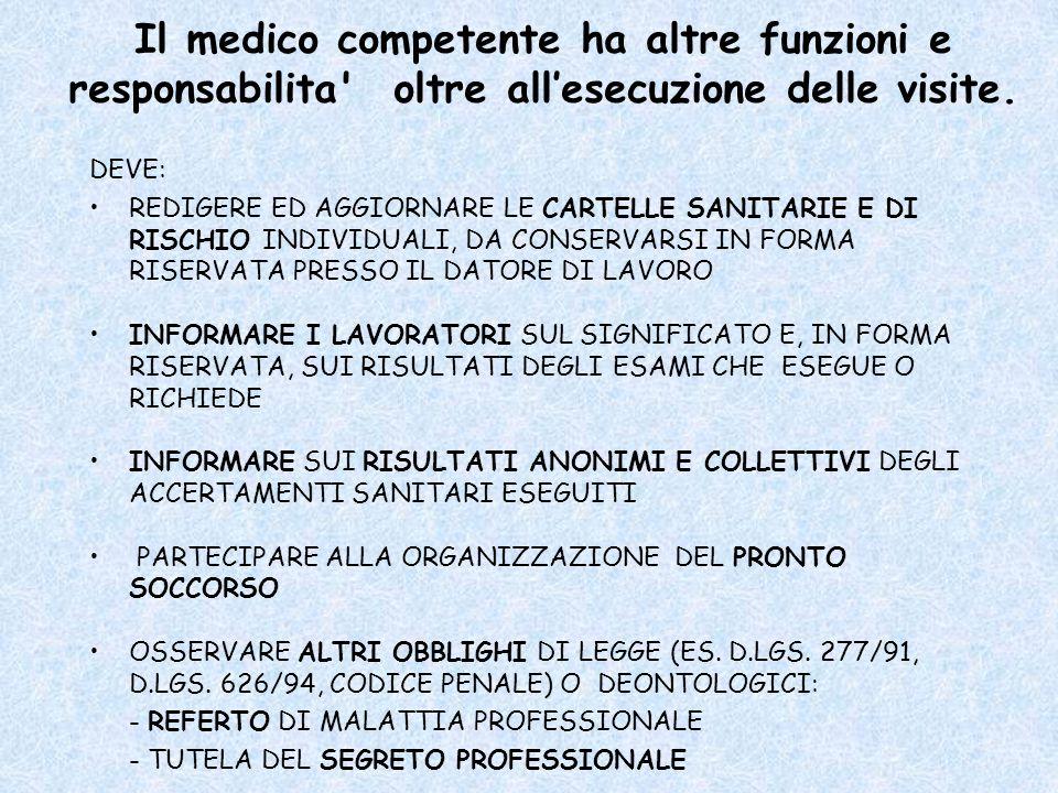 Il medico competente ha altre funzioni e responsabilita oltre all'esecuzione delle visite.