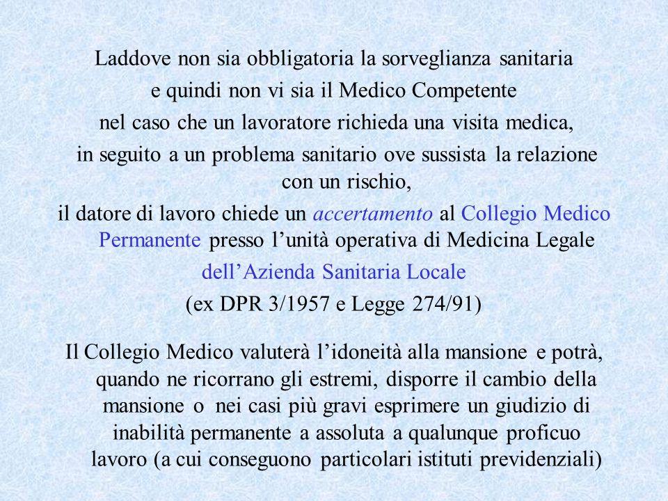 Laddove non sia obbligatoria la sorveglianza sanitaria