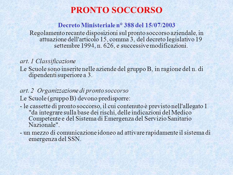 Decreto Ministeriale n° 388 del 15/07/2003