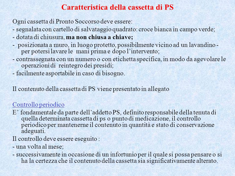 Caratteristica della cassetta di PS