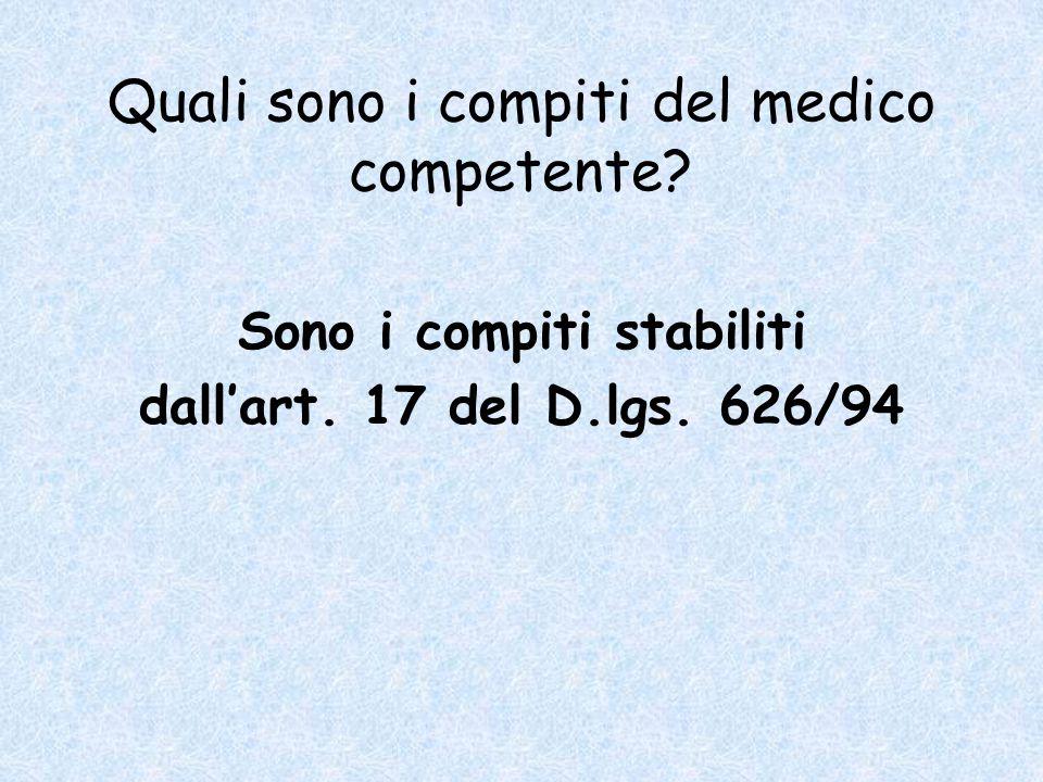 Quali sono i compiti del medico competente