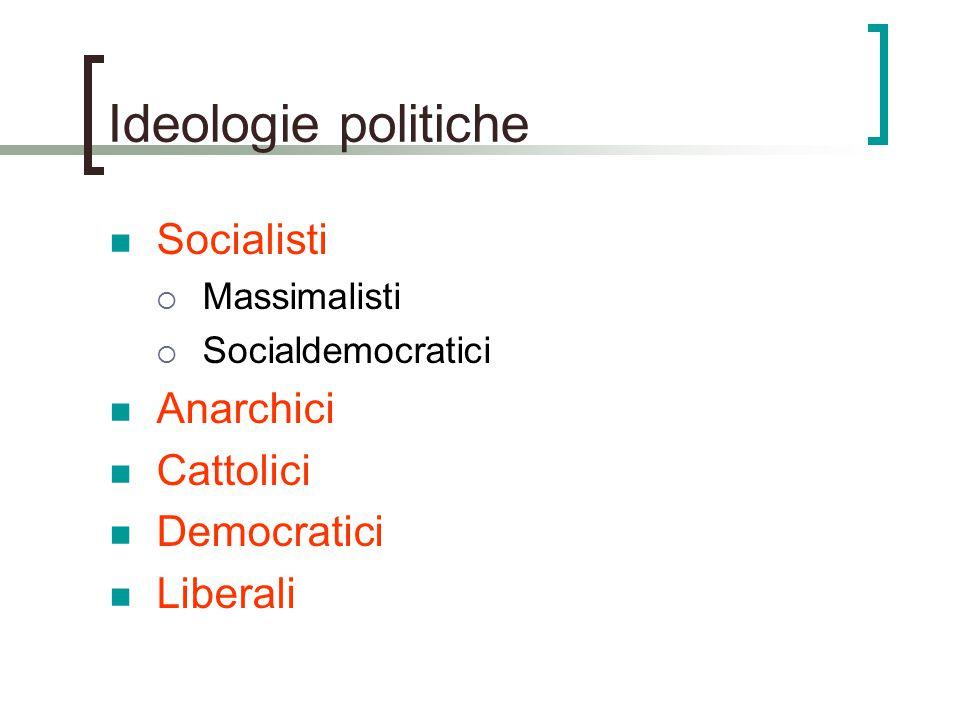 Ideologie politiche Socialisti Anarchici Cattolici Democratici
