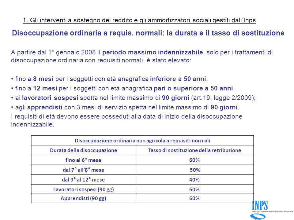 1. Gli interventi a sostegno del reddito e gli ammortizzatori sociali gestiti dall'Inps