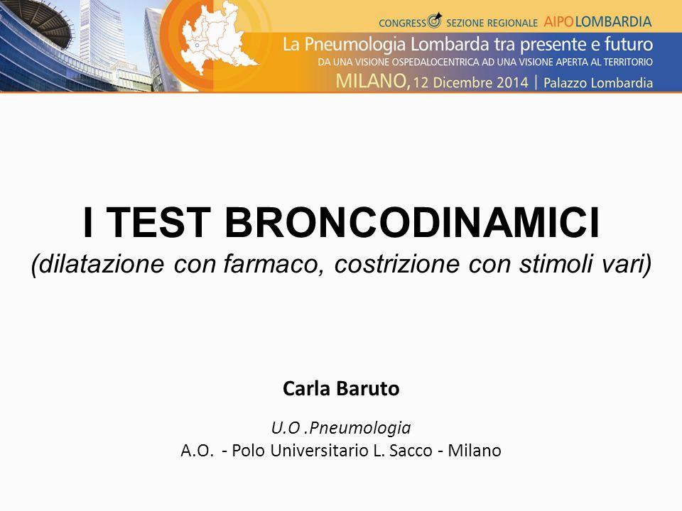 I TEST BRONCODINAMICI (dilatazione con farmaco, costrizione con stimoli vari) Carla Baruto. U.O .Pneumologia.