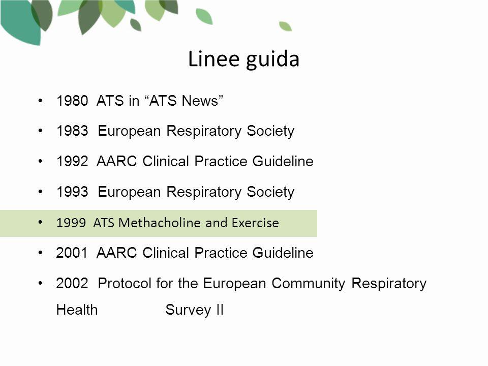 Linee guida 1980 ATS in ATS News 1983 European Respiratory Society