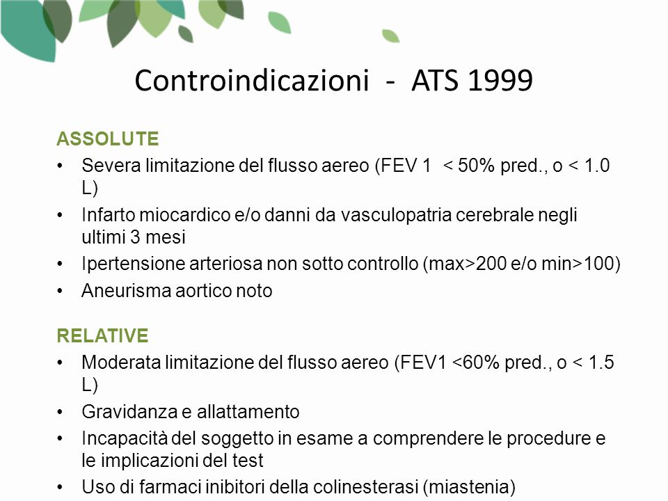 Controindicazioni - ATS 1999
