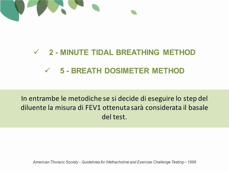 2 - MINUTE TIDAL BREATHING METHOD 5 - BREATH DOSIMETER METHOD