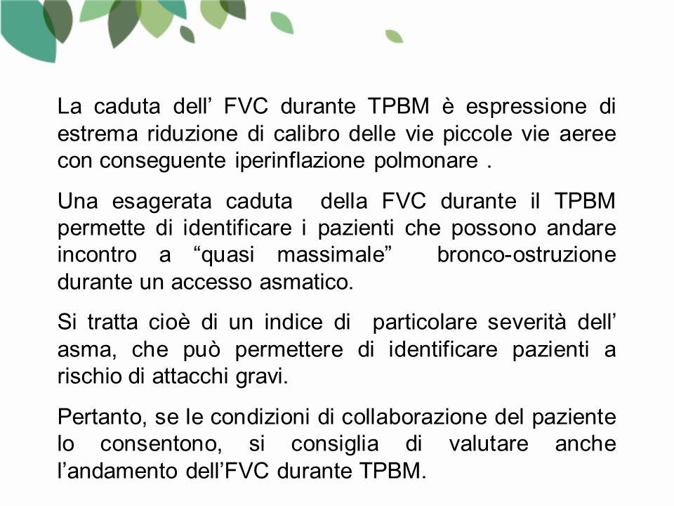 La caduta dell' FVC durante TPBM è espressione di estrema riduzione di calibro delle vie piccole vie aeree con conseguente iperinflazione polmonare .