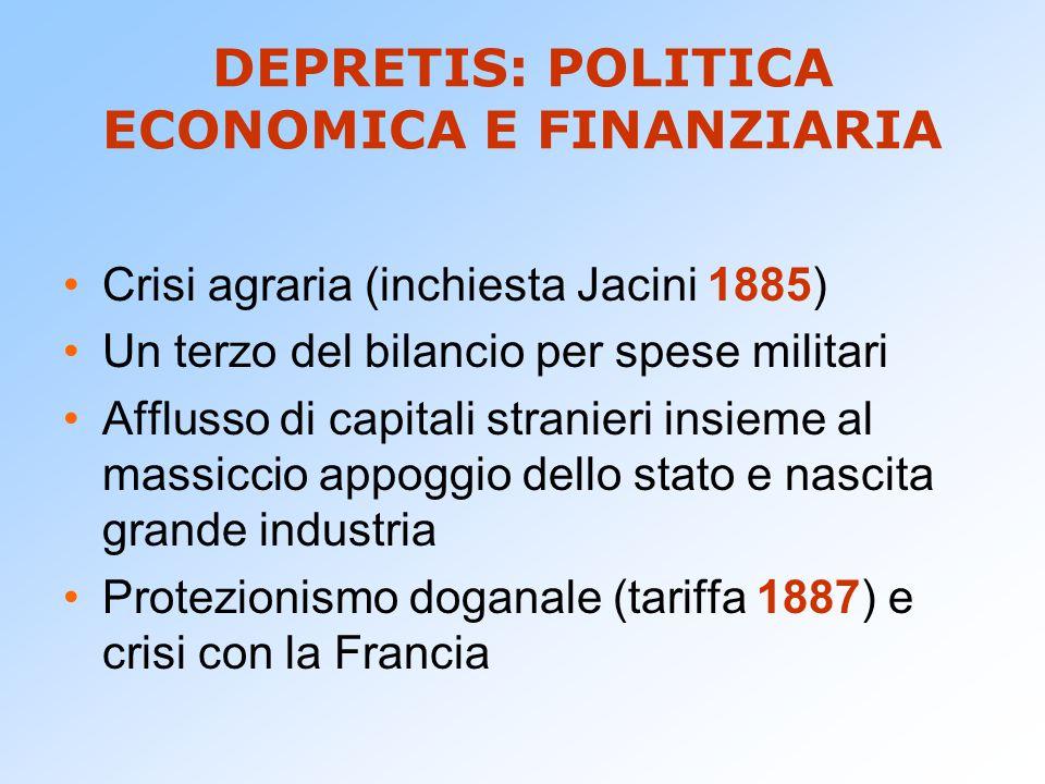 DEPRETIS: POLITICA ECONOMICA E FINANZIARIA